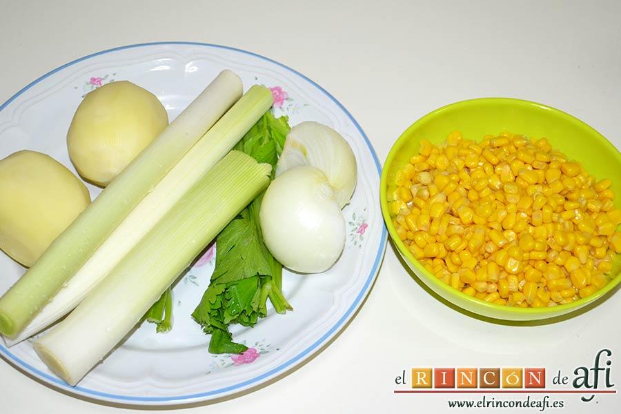 Crema de maíz y puerros, preparar los ingredientes