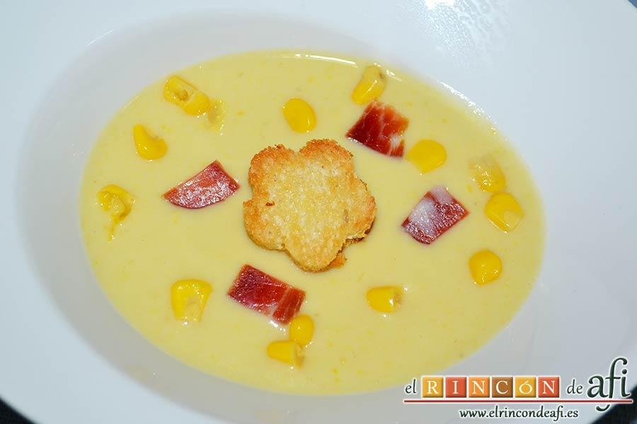 Crema de maíz y puerros, sugerencia de presentación