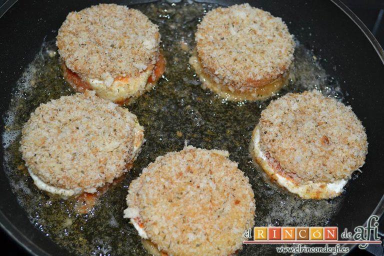 Mozzarella en carroza, freír en aceite de girasol