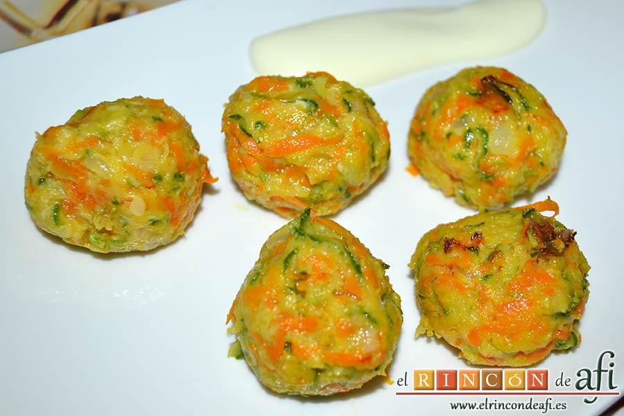 Albóndigas de verduras, sugerencia de presentación
