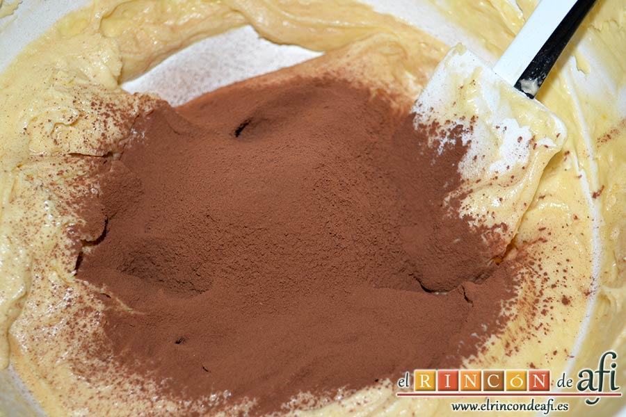 Bica bicolor, añadir en uno de los bols dos cucharadas de cacao