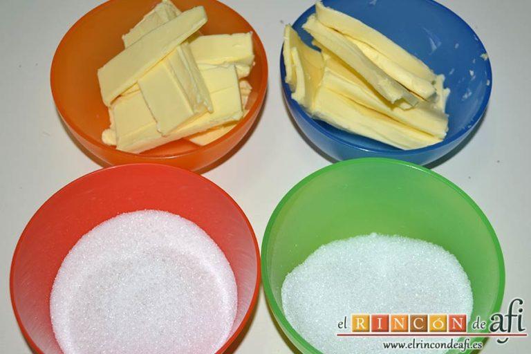 Galletas crujientes de mantequilla, dividir los ingredientes para hacer dos masas