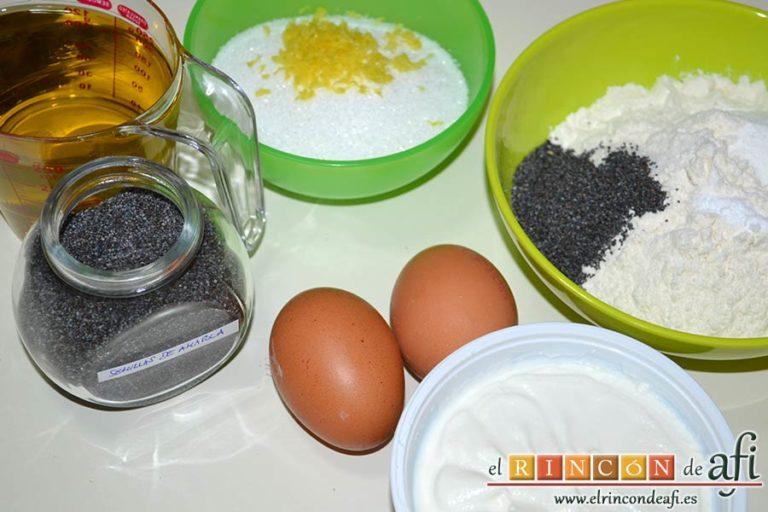 Bizcocho de limón y queso Ricotta con semillas de amapola, preparar los ingredientes