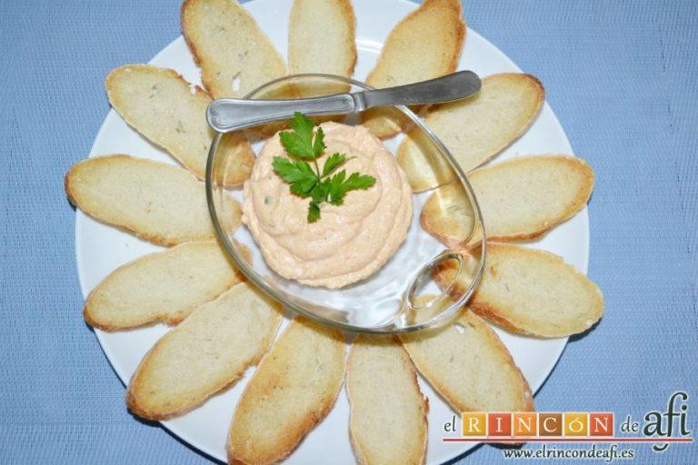 Paté de langostinos, sugerencia de presentación