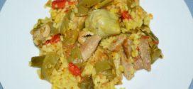 Arroz con secreto ibérico y verduras al horno