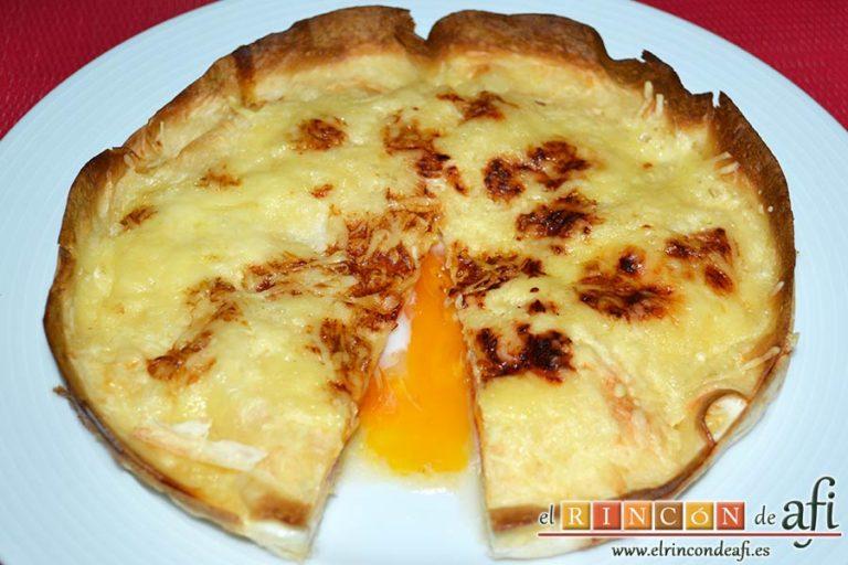 Pastel de tortillas con huevos, sugerencia de presentación