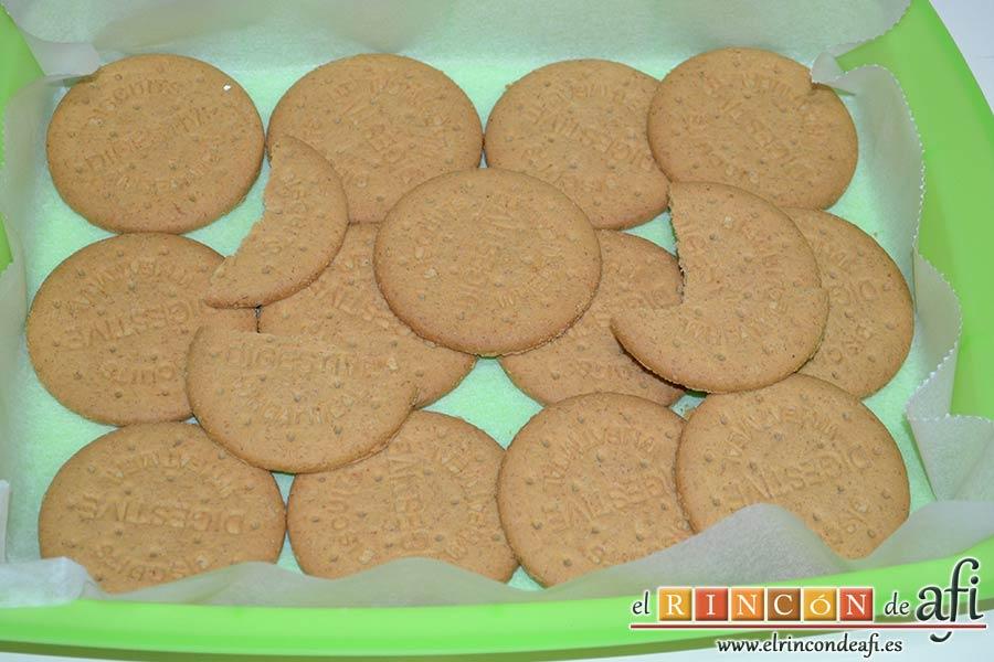 Tarta de queso y lima en barritas, calcular cuántas galletas se necesitan