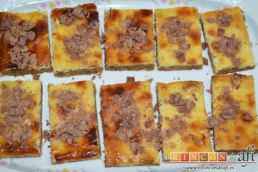 Tarta de queso y lima en barritas, sugerencia de presentación