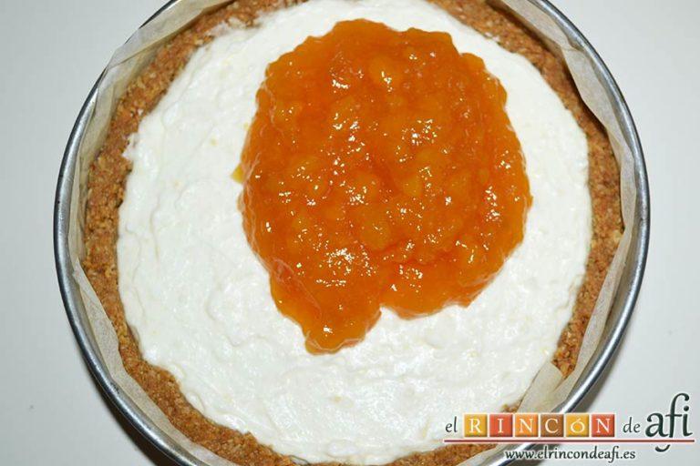 Tarta de Ricotta, poner mermelada encima