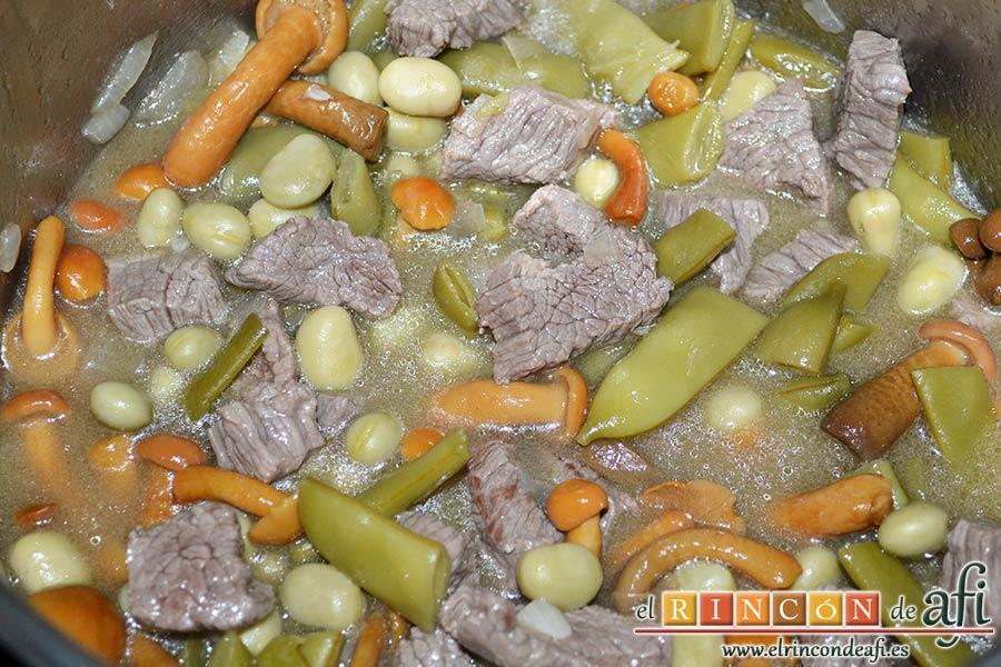 Carne estofada con verduras, cubrir con agua