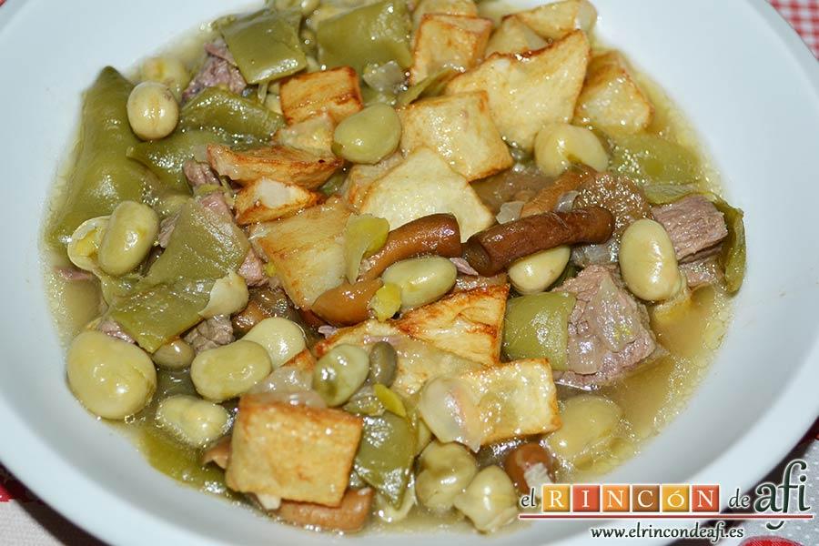 Carne estofada con verduras, sugerencia de presentación