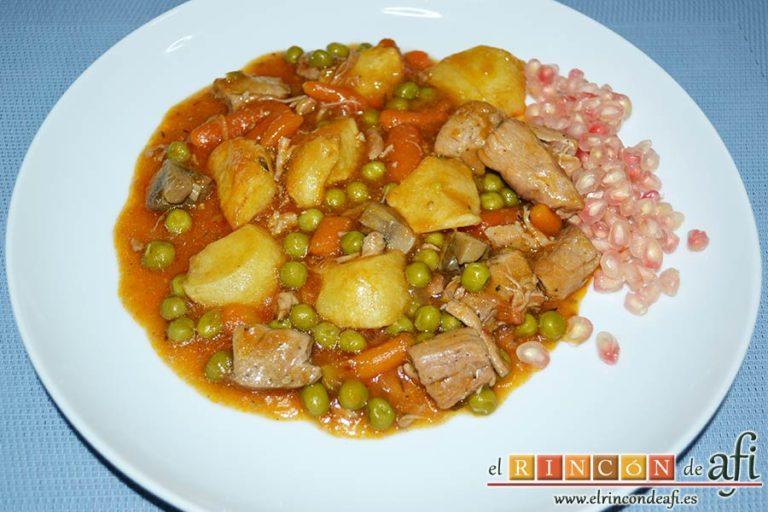 Estofado de solomillo de cerdo estilo Afi, sugerencia de presentación