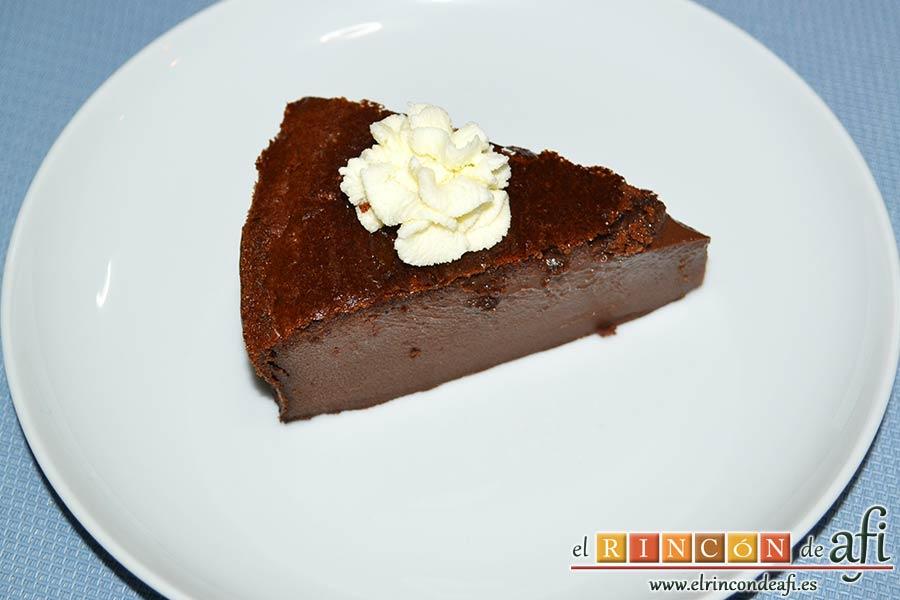 Flan de chocolate al horno, sugerencia de presentación