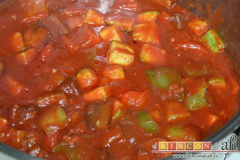 Pisto de verduras a la turca, dejar cocer unos minutos
