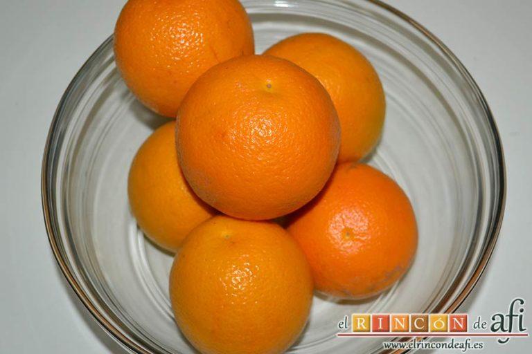 Tiramisú de frambuesas con almíbar de naranja, preparar las naranjas