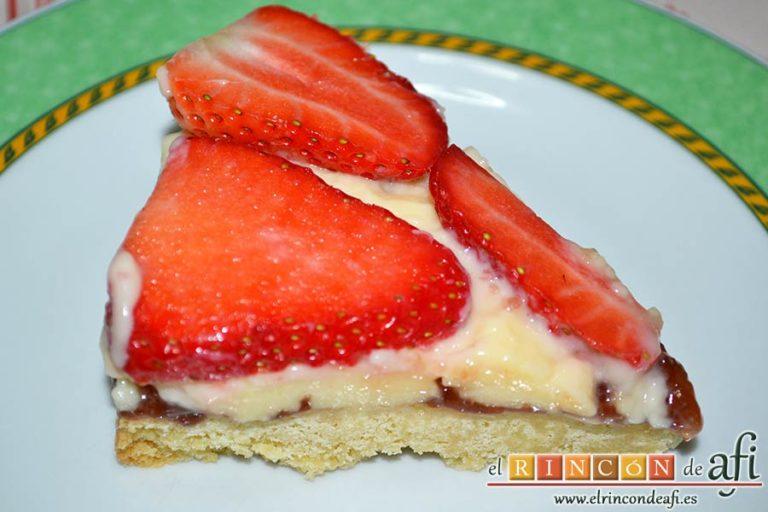 Shortbread de fresas con crema pastelera, sugerencia de presentación