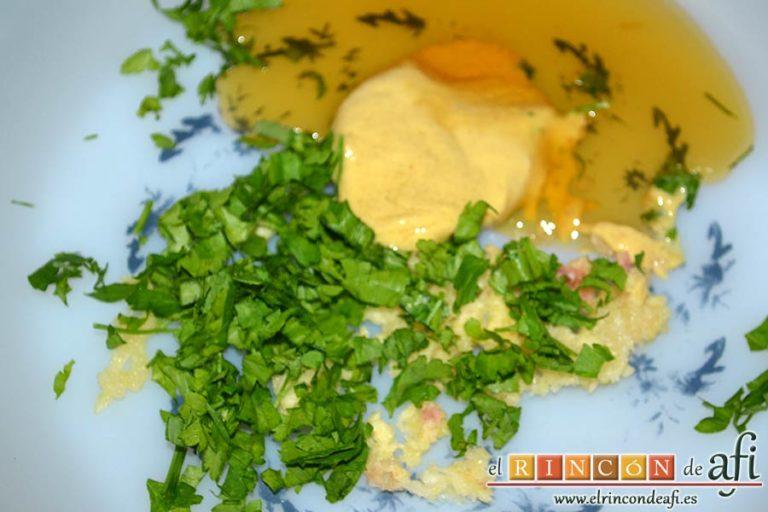 Filetes de espaldilla de ternera marinados con miel y mostaza, preparar el marinado