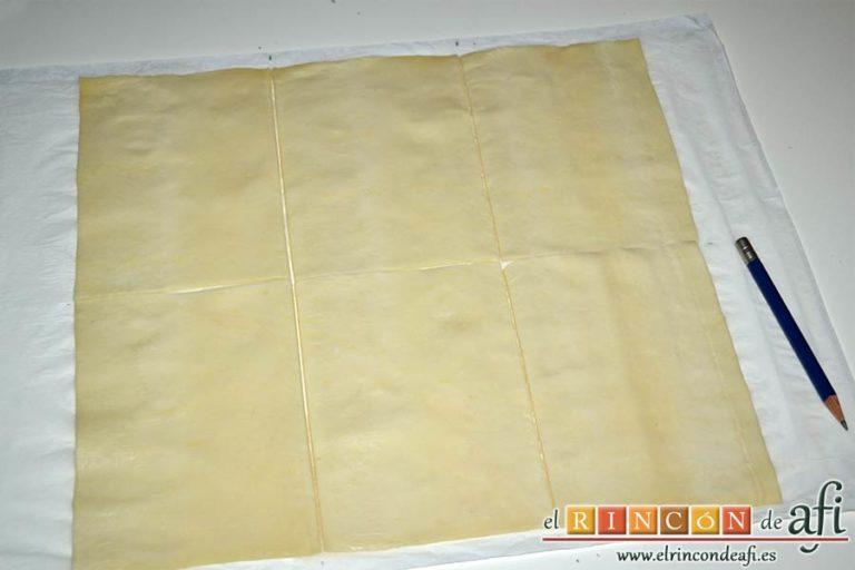 Pasteles de manzana y crema pastelera, cortarla en seis partes