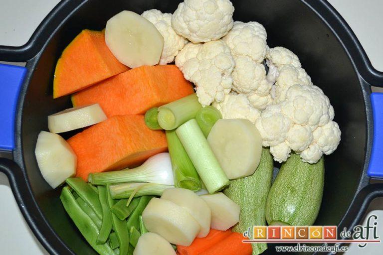 Cocido vegetal con escabeche de tomate seco, preparar las verduras