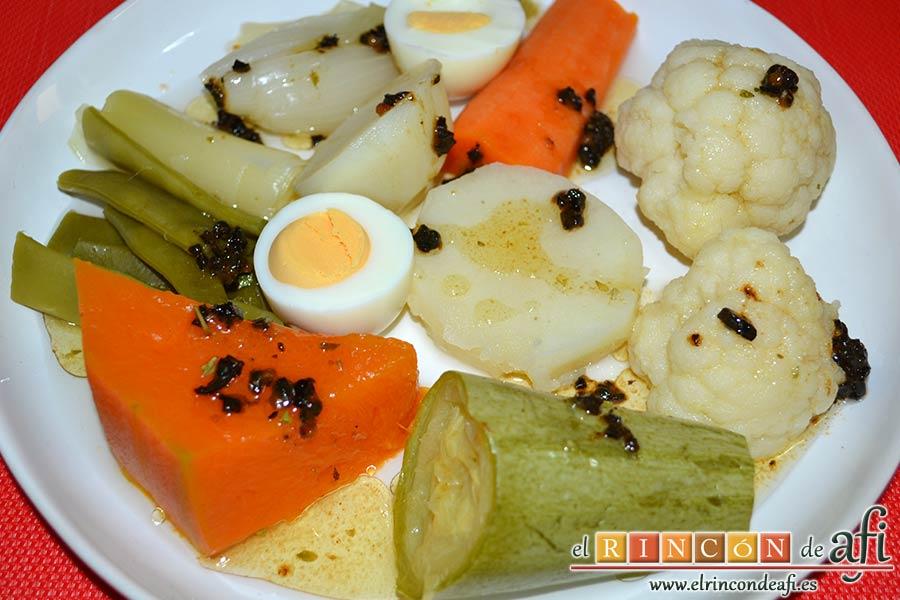 Cocido vegetal con escabeche de tomate seco, sugerencia de preparación