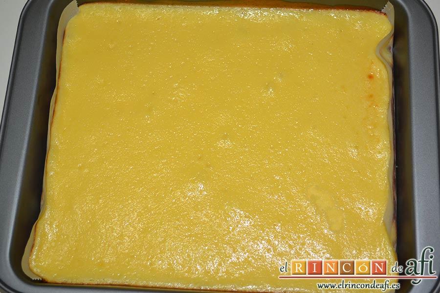 Cuadrados de tarta de queso, esperar a que se enfríe
