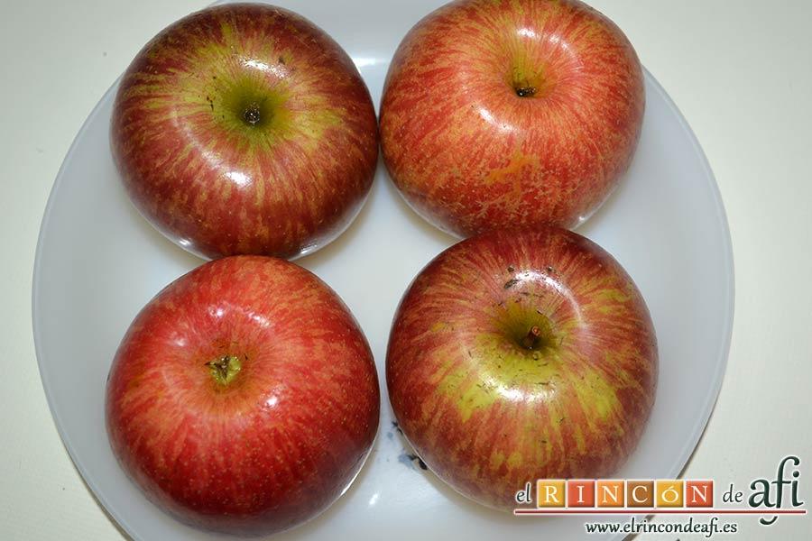 Kuchen de manzana, lavar bien las manzanas