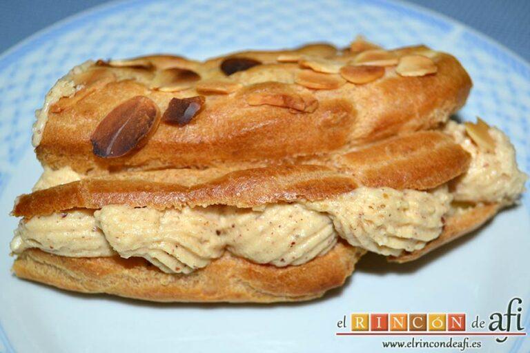 Paris brest con crema de praliné de almendras, servir en porciones