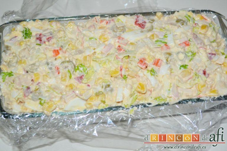 Pastel de pan de molde, poner una última capa de relleno