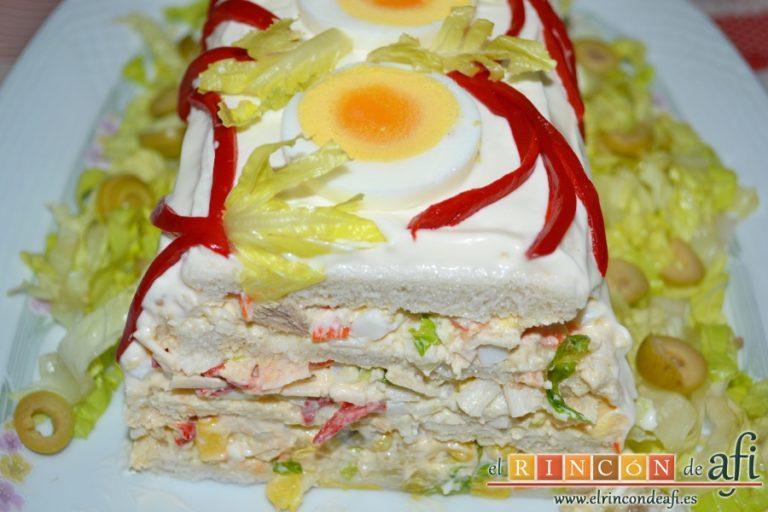 Pastel de pan de molde, sugerencia de presentación