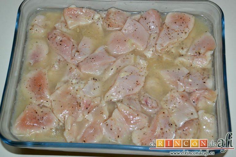 Pollo al limón, refrigerar toda la noche