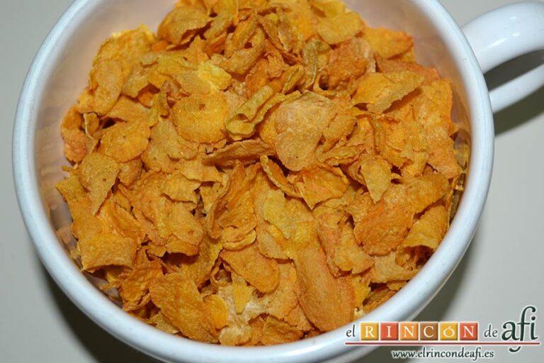 Biscuits afganos o Afghan biscuits, preparar los copos de maíz