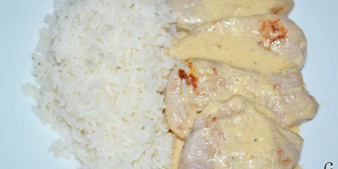 Solomillo de cerdo con salsa de quesos